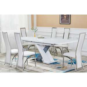 Axara Extending White And Grey Gloss Dining Table 6 White Chairs
