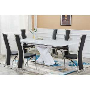 Axara Extending White Gloss Dining Table With 6 Black Chairs