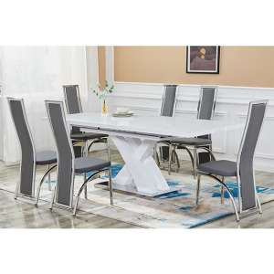 Axara Extending White Gloss Dining Table With 6 Grey Chairs