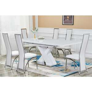 Axara Extending White Gloss Dining Table With 6 White Chairs