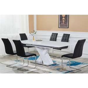 Axara Extending White Gloss Dining Set With 6 Paris Black Chairs