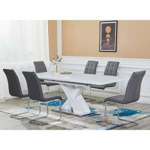 Axara Extending White Gloss Dining Set With 6 Paris Grey Chairs