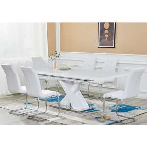 Axara Extending White Gloss Dining Set With 6 Paris White Chairs