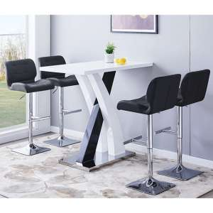 Axara Gloss Bar Table In White Black With 4 Candid Black Stools