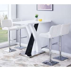 Axara Gloss Bar Table In White Black With 4 Candid White Stools