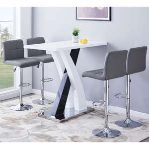 Axara Gloss Bar Table In White Black With 4 Coco Grey Stools