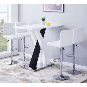 Axara Gloss Bar Table In White Black With 4 Coco White Stools