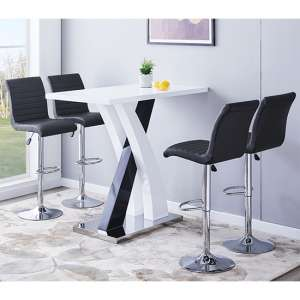 Axara Gloss Bar Table In White Black With 4 Ripple Grey Stools
