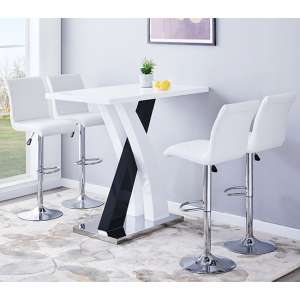 Axara Gloss Bar Table In White Black With 4 Ripple White Stools