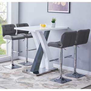 Axara Gloss Bar Table In White Grey With 4 Candid Grey Stools