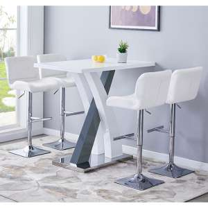 Axara Gloss Bar Table In White Grey With 4 Candid White Stools