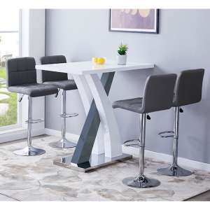 Axara Gloss Bar Table In White Grey With 4 Coco Grey Stools