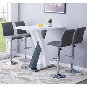 Axara Gloss Bar Table In White Grey With 4 Ripple Grey Stools