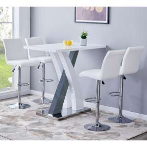 Axara Gloss Bar Table In White Grey With 4 Ripple White Stools