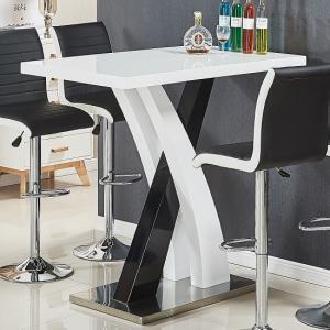 Axara Bar Table Rectangular In White And Black High Gloss