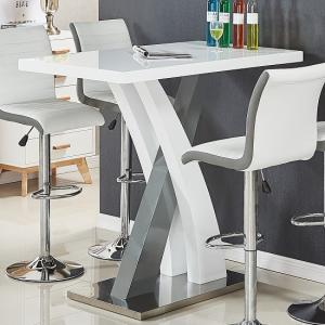 Axara Bar Table Rectangular In White And Grey High Gloss