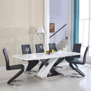Axara Extendable Dining Table In White With 6 Summer Black Chair