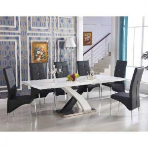 Axara Extendable Dining Set In White Black With 6 Vesta Chairs