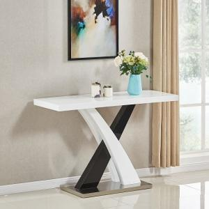 Axara Console Table Rectangular In White And Black High Gloss
