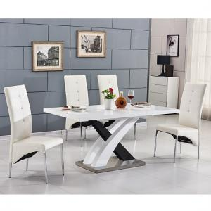 Axara Extending Small Dining Set White Black Gloss 6 Vesta Chair