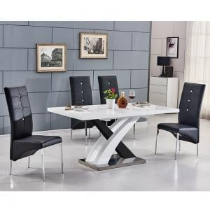 Axara Extending Small Gloss Dining Set White Black And 6 Chairs