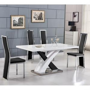 Axara Extending Small Dining Set White Black Gloss 6 Chairs