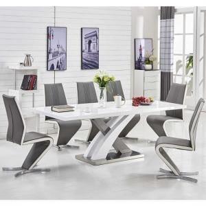 Axara Extendable Dining Table In White With 6 Gia Grey Chairs