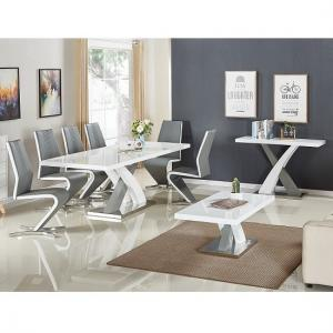 Axara Extendable Small Dining Table In White And Grey High Gloss_3