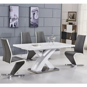 Axara Extendable Small Dining Table White Gloss And 6 Gia Chairs