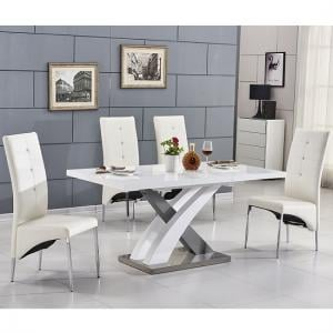 Axara Extending Small Dining Set White Grey Gloss 6 White Chairs