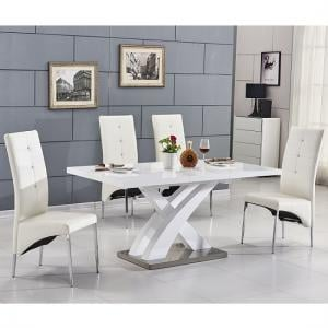 Axara Extending Small Dining Set In White Gloss 6 White Chairs