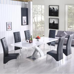 Axara Extendable Dining Table In White With 6 Vesta Black Chairs