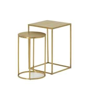 Axley Metal Nest Of 2 Tables In Brushed Gold Plated