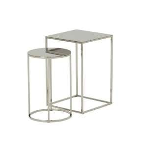 Axley Metal Nest Of 2 Tables In Polished Stainless Steel Finish
