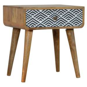 Axton Wooden Bedside Cabinet In Monochrome Print With 1 Drawer