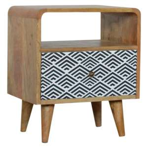 Axton Wooden Bedside Cabinet In Monochrome Print With Open Slot