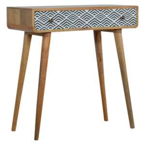 Axton Wooden Console Table In Oak Ish And Monochrome Print