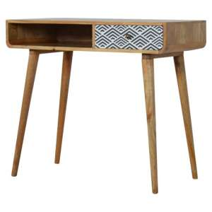 Axton Wooden Study Desk In Oak Ish And Monochrome Print