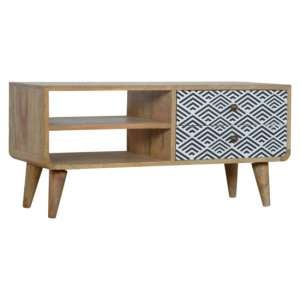 Axton Wooden TV Stand In Oak Ish And Monochrome Print