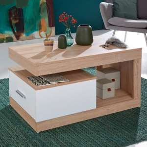 Ayano Wooden Coffee Table In Sonoma Oak And White With 1 Drawer