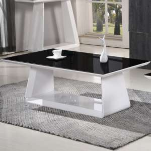 Azurro Glass Coffee Table In Black And High Gloss White