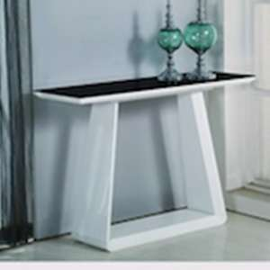 Azurro Glass Console Table In Black And High Gloss White
