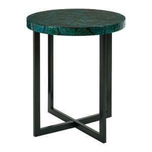 Bahiros MDF Round Side Table In Teal Finish