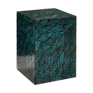 Bahiros MDF Square Side Table In Teal Finish