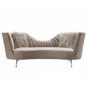 Bailey Fabric 3 Seater Sofa In Mink With Polished Metal Legs