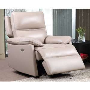 Bailey Faux Leather Electric Recliner Armchair In Taupe