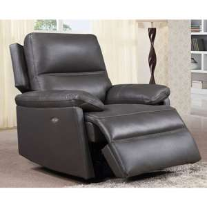 Bailey Faux Leather Recliner Armchair In Grey