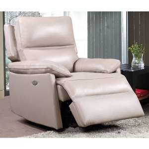 Bailey Faux Leather Recliner Armchair In Taupe