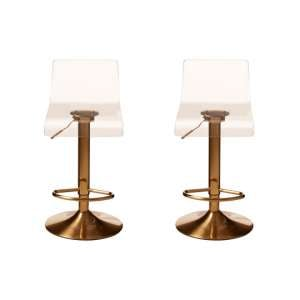 Baino Clear Acrylic Seat Bar Stool With Golden Base In Pair