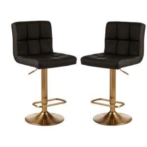Baino Black Leather Bar Stool With Gold Base In Pair